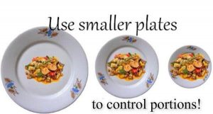 use smallest plates to control portions weight loss
